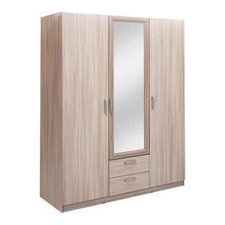 5.14Z Эко Шкаф 3-х дверный с зеркалом (шимо светлый, Шимо светлый, Лотос 128)